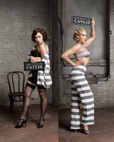 Jennifer Rider-Shaw as Velma Kelly and Chelsea Preston as Roxie Hart in Chicago