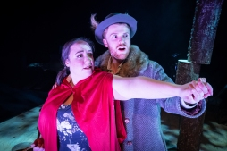 Amy Swift as Little Red Riding Hood and Griffin Hewitt as The Wolf